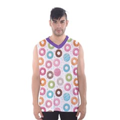 Donut Pattern With Funny Candies Men s Basketball Tank Top by genx