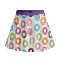 Donut Pattern With Funny Candies Mini Flare Skirt by genx