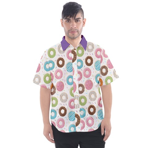 Donut Pattern With Funny Candies Men s Short Sleeve Shirt by genx