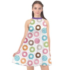 Donut Pattern With Funny Candies Halter Neckline Chiffon Dress  by genx