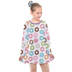 Donut Pattern With Funny Candies Kids  Long Sleeve Dress by genx