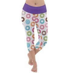 Donut Pattern With Funny Candies Lightweight Velour Capri Yoga Leggings by genx
