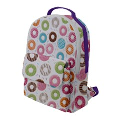 Donut Pattern With Funny Candies Flap Pocket Backpack (large) by genx