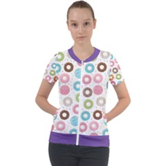 Donut Pattern With Funny Candies Short Sleeve Zip Up Jacket by genx