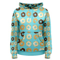 Donuts Pattern With Bites Bright Pastel Blue And Brown Women s Pullover Hoodie by genx