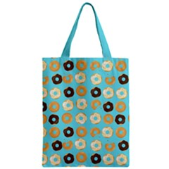 Donuts Pattern With Bites Bright Pastel Blue And Brown Zipper Classic Tote Bag by genx