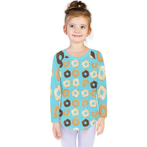 Donuts Pattern With Bites Bright Pastel Blue And Brown Kids  Long Sleeve Tee by genx