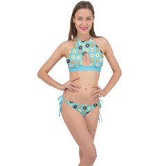 Donuts Pattern With Bites Bright Pastel Blue And Brown Cross Front Halter Bikini Set by genx