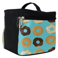 Donuts Pattern With Bites Bright Pastel Blue And Brown Make Up Travel Bag (small)
