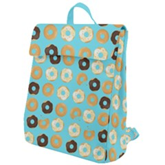 Donuts Pattern With Bites Bright Pastel Blue And Brown Flap Top Backpack by genx