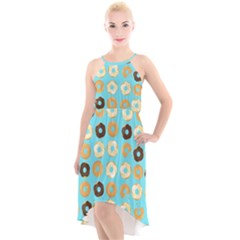Donuts Pattern With Bites Bright Pastel Blue And Brown High-low Halter Chiffon Dress  by genx