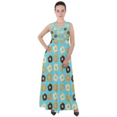Donuts Pattern With Bites Bright Pastel Blue And Brown Empire Waist Velour Maxi Dress by genx