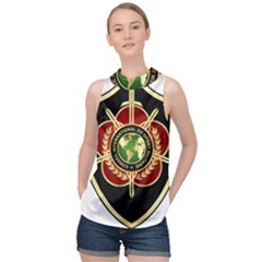 Iranian Cism Emblem High Neck Satin Top by abbeyz71
