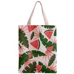 Tropical Watermelon Leaves Pink And Green Jungle Leaves Retro Hawaiian Style Classic Tote Bag by genx