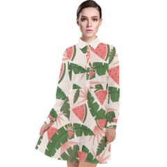 Tropical Watermelon Leaves Pink And Green Jungle Leaves Retro Hawaiian Style Long Sleeve Chiffon Shirt Dress by genx