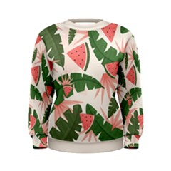 Tropical Watermelon Leaves Pink And Green Jungle Leaves Retro Hawaiian Style Women s Sweatshirt by genx