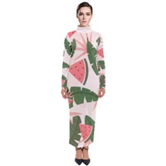 Tropical Watermelon Leaves Pink And Green Jungle Leaves Retro Hawaiian Style Turtleneck Maxi Dress by genx