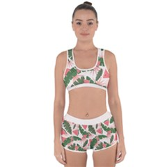 Tropical Watermelon Leaves Pink And Green Jungle Leaves Retro Hawaiian Style Racerback Boyleg Bikini Set by genx