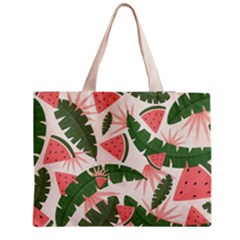 Tropical Watermelon Leaves Pink And Green Jungle Leaves Retro Hawaiian Style Medium Tote Bag by genx
