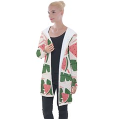 Tropical Watermelon Leaves Pink And Green Jungle Leaves Retro Hawaiian Style Longline Hooded Cardigan by genx