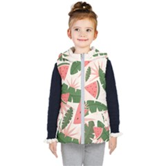 Tropical Watermelon Leaves Pink And Green Jungle Leaves Retro Hawaiian Style Kids  Hooded Puffer Vest by genx