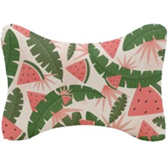 Tropical Watermelon Leaves Pink And Green Jungle Leaves Retro Hawaiian Style Seat Head Rest Cushion by genx