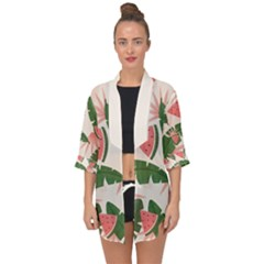 Tropical Watermelon Leaves Pink And Green Jungle Leaves Retro Hawaiian Style Open Front Chiffon Kimono by genx
