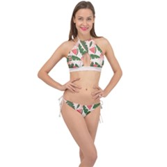 Tropical Watermelon Leaves Pink And Green Jungle Leaves Retro Hawaiian Style Cross Front Halter Bikini Set by genx