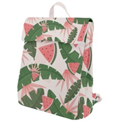 Tropical Watermelon Leaves Pink And Green Jungle Leaves Retro Hawaiian Style Flap Top Backpack by genx