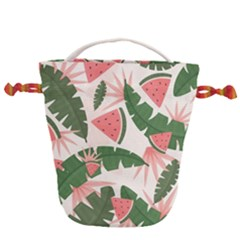 Tropical Watermelon Leaves Pink And Green Jungle Leaves Retro Hawaiian Style Drawstring Bucket Bag by genx