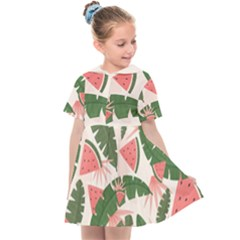 Tropical Watermelon Leaves Pink And Green Jungle Leaves Retro Hawaiian Style Kids  Sailor Dress by genx