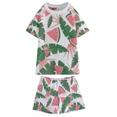 Tropical Watermelon Leaves Pink And Green Jungle Leaves Retro Hawaiian Style Kids  Swim Tee And Shorts Set by genx
