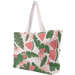 Tropical Watermelon Leaves Pink And Green Jungle Leaves Retro Hawaiian Style Simple Shoulder Bag by genx