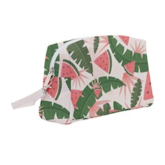 Tropical Watermelon Leaves Pink And Green Jungle Leaves Retro Hawaiian Style Wristlet Pouch Bag (medium) by genx