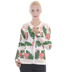 Tropical Watermelon Leaves Pink And Green Jungle Leaves Retro Hawaiian Style Casual Zip Up Jacket by genx