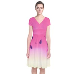 Watermelon Pastel Gradient Pink Watermelon Pastel Gradient Short Sleeve Front Wrap Dress by genx