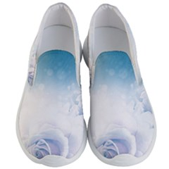 Beautiful Floral Design In Soft Blue Colors Men s Lightweight Slip Ons by FantasyWorld7