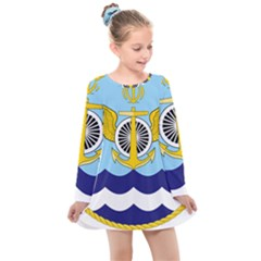 Official Insignia Of Iranian Navy Aviation Kids  Long Sleeve Dress by abbeyz71