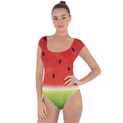 Juicy Paint Texture Watermelon Red And Green Watercolor Short Sleeve Leotard  by genx
