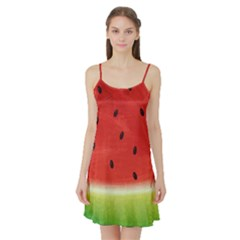 Juicy Paint Texture Watermelon Red And Green Watercolor Satin Night Slip by genx