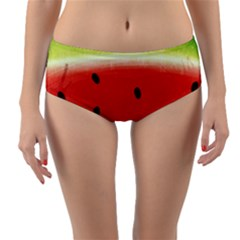 Juicy Paint Texture Watermelon Red And Green Watercolor Reversible Mid-waist Bikini Bottoms by genx
