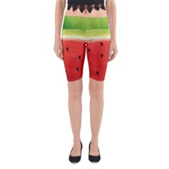Juicy Paint Texture Watermelon Red And Green Watercolor Yoga Cropped Leggings by genx