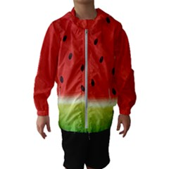 Juicy Paint Texture Watermelon Red And Green Watercolor Kids  Hooded Windbreaker by genx