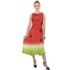 Juicy Paint Texture Watermelon Red And Green Watercolor Midi Tie Back Chiffon Dress
