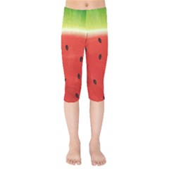 Juicy Paint Texture Watermelon Red And Green Watercolor Kids  Capri Leggings  by genx
