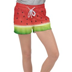 Juicy Paint Texture Watermelon Red And Green Watercolor Women s Velour Lounge Shorts by genx