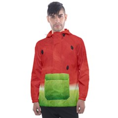 Juicy Paint Texture Watermelon Red And Green Watercolor Men s Front Pocket Pullover Windbreaker by genx