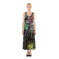Succulents Sleeveless Maxi Dress by okhismakingart