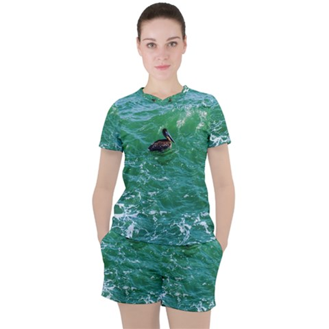 Waterbird  Women s Tee And Shorts Set by okhismakingart
