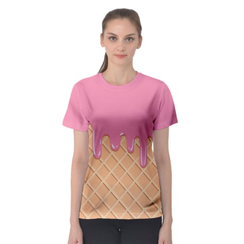 Ice Cream Pink Melting Background With Beige Cone Women s Sport Mesh Tee by genx